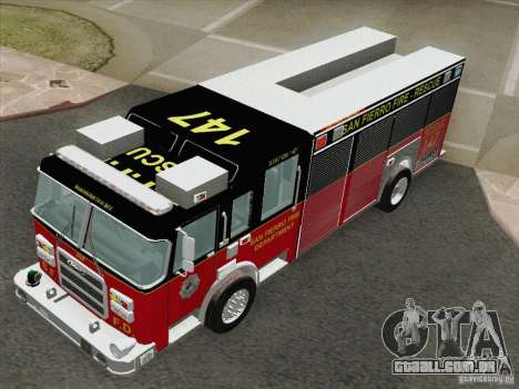 Pierce SFFD Rescue para GTA San Andreas vista traseira