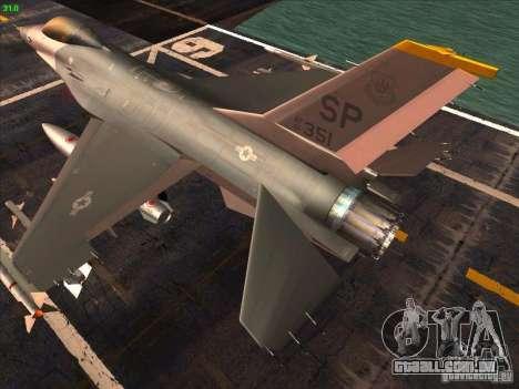 F-16C Fighting Falcon para GTA San Andreas traseira esquerda vista