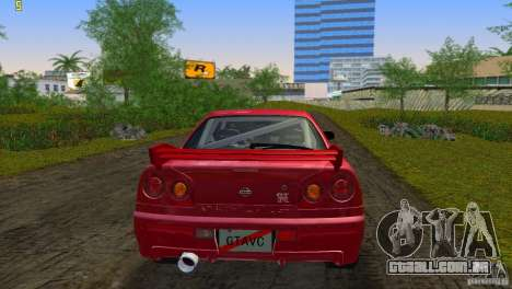 Nissan Skyline GTR R34 para GTA Vice City vista traseira
