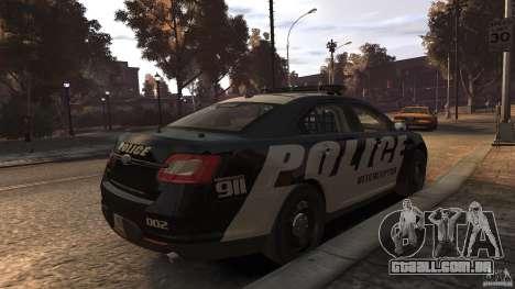Ford Taurus Police Interceptor 2010 ELS para GTA 4 traseira esquerda vista