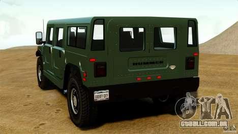 Hummer H1 Alpha para GTA 4 traseira esquerda vista