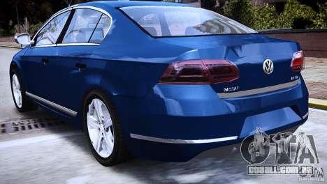 VW Passat B7 TDI Blue Motion para GTA 4 traseira esquerda vista