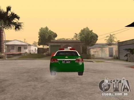 Chevrolet Cruze Carabineros Police para GTA San Andreas traseira esquerda vista