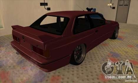 BMW M3 E30 1990 para GTA San Andreas vista direita