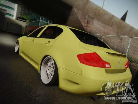 Infiniti G37 Sedan para GTA San Andreas vista interior