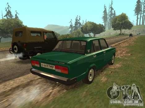 VAZ 2107 1988 para GTA San Andreas traseira esquerda vista