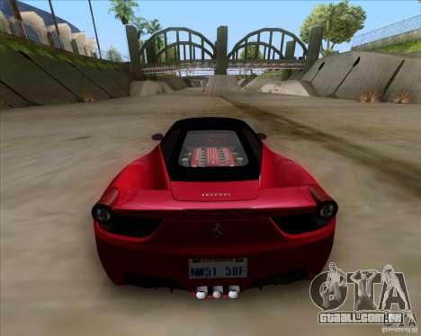 Ferrari 458 Italia V12 TT Black Revel para GTA San Andreas traseira esquerda vista