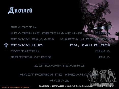 formato 12/24 horas para GTA San Andreas segunda tela