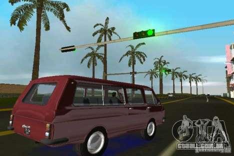 RAF 2203 para GTA Vice City vista traseira esquerda
