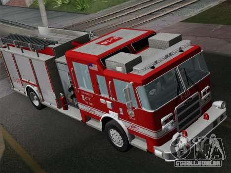 Pierce Saber LAFD Engine 10 para GTA San Andreas vista traseira
