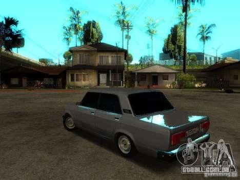 VAZ 2107 V2 para GTA San Andreas traseira esquerda vista