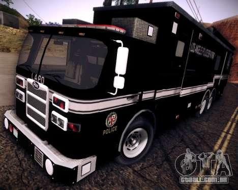 Pierce Contendor LAPD SWAT para GTA San Andreas traseira esquerda vista
