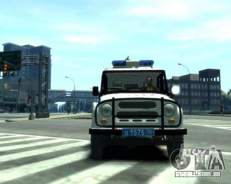 UAZ 31512 polícia para GTA 4 esquerda vista