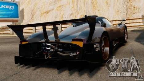 Pagani Zonda R 2009 para GTA 4 traseira esquerda vista