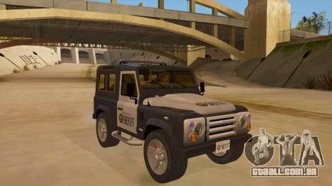 Land Rover Defender Sheriff para GTA San Andreas vista traseira