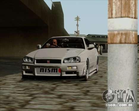 Nissan Skyline GTR R34 para GTA San Andreas esquerda vista