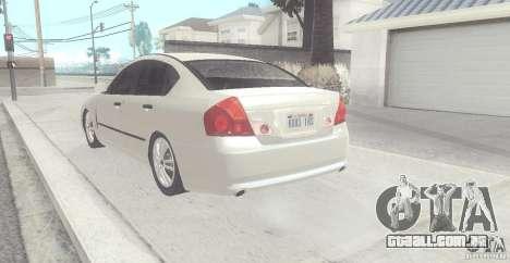 Infiniti M35 para GTA San Andreas traseira esquerda vista