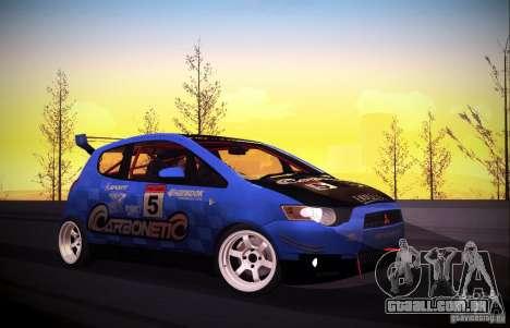 Mitsubishi Colt Rallyart Carbon 2010 para GTA San Andreas vista interior