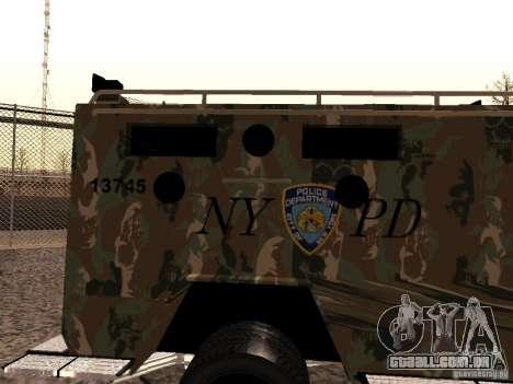 Lenco Bearcat NYPD para GTA San Andreas traseira esquerda vista