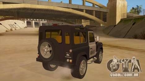Land Rover Defender Sheriff para GTA San Andreas vista direita