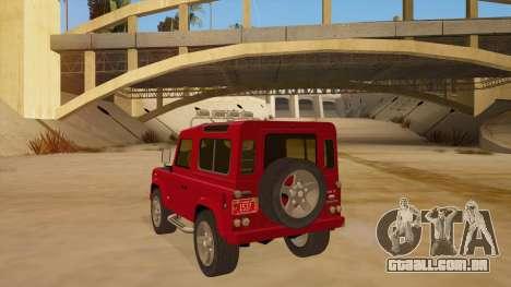 Land Rover Defender para GTA San Andreas traseira esquerda vista