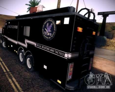Pierce Contendor LAPD SWAT para GTA San Andreas vista traseira
