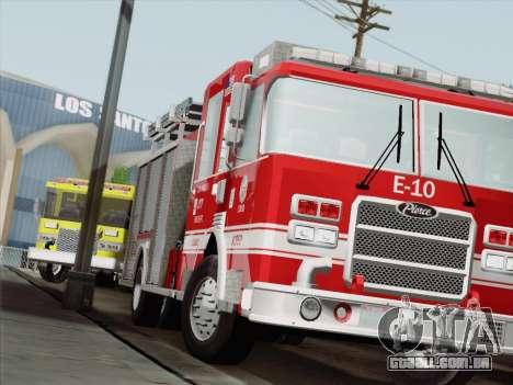 Pierce Saber LAFD Engine 10 para GTA San Andreas esquerda vista