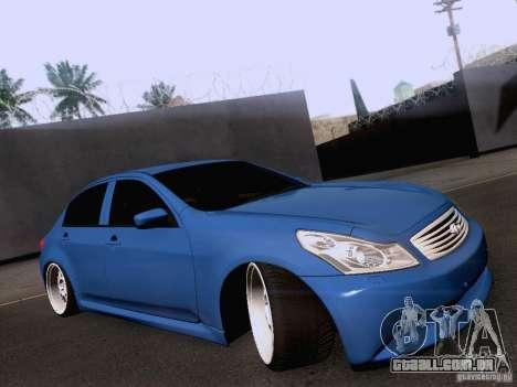 Infiniti G37 Sedan para GTA San Andreas traseira esquerda vista