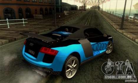 Audi R8 Spyder Tunable para GTA San Andreas vista inferior