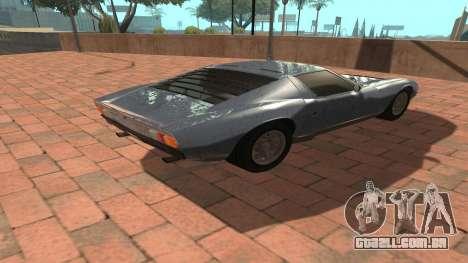 Lamborghini Miura P400 SV 1971 V1.0 para GTA San Andreas vista traseira
