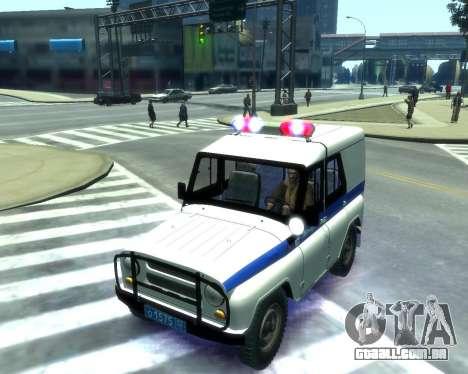 UAZ 31512 polícia para GTA 4 vista interior