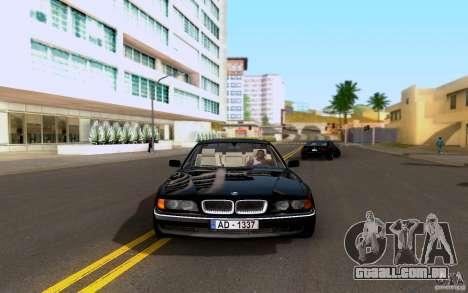 BMW 730i E38 FBI para GTA San Andreas traseira esquerda vista