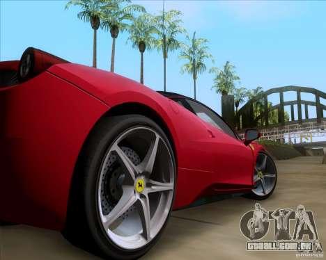 Ferrari 458 Italia V12 TT Black Revel para GTA San Andreas vista traseira