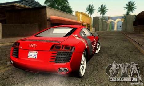 Audi R8 para GTA San Andreas vista inferior