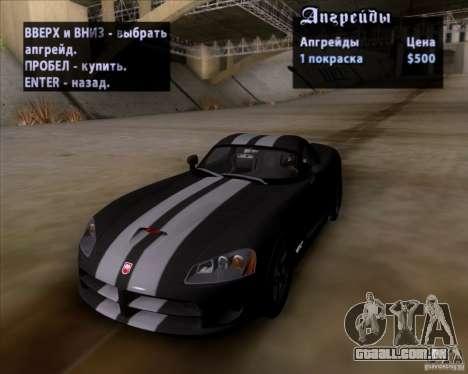 Dodge Viper SRT-10 Coupe para GTA San Andreas vista superior