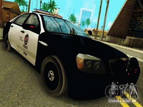Chevrolet Caprice 2011 Police para GTA San Andreas vista traseira