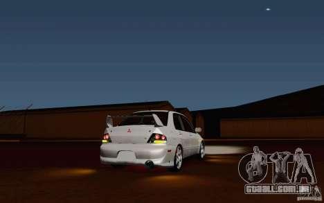 Mitsubishi Lancer Evo VIII GSR para GTA San Andreas traseira esquerda vista