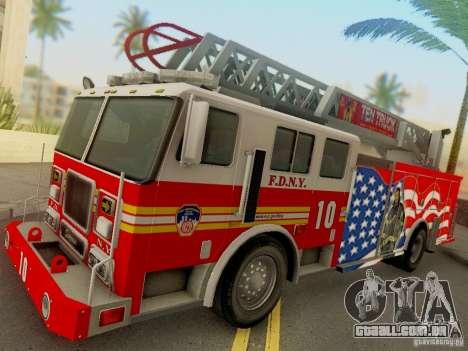 Seagrave FDNY Ladder 10 para GTA San Andreas traseira esquerda vista