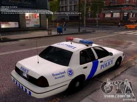 Ford Crown Victoria Homeland Security para GTA 4 vista interior