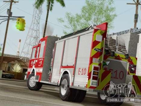 Pierce Saber LAFD Engine 10 para GTA San Andreas traseira esquerda vista