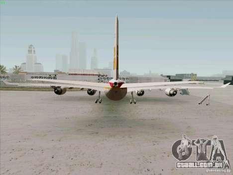 Airbus A-340-600 Iberia para GTA San Andreas traseira esquerda vista