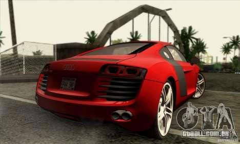 Audi R8 para GTA San Andreas traseira esquerda vista