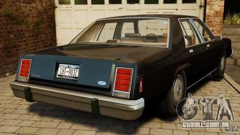 Ford LTD Crown Victoria 1987 para GTA 4 traseira esquerda vista