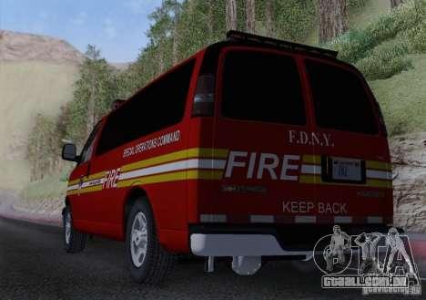 Chevrolet Express Special Operations Command para GTA San Andreas vista interior