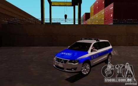 Volkswagen Passat B6 Variant Polizei para GTA San Andreas esquerda vista