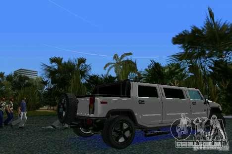 Hummer H2 SUT Limousine para GTA Vice City vista traseira esquerda