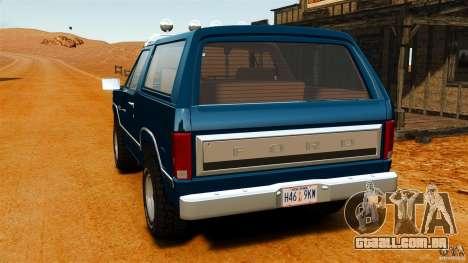 Ford Bronco 1980 para GTA 4 traseira esquerda vista