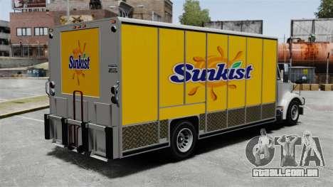 O novo anúncio para o caminhão de Benson para GTA 4 por diante tela