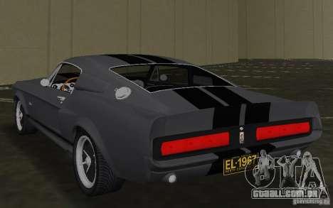 Shelby GT500 Eleanor para GTA Vice City vista traseira esquerda