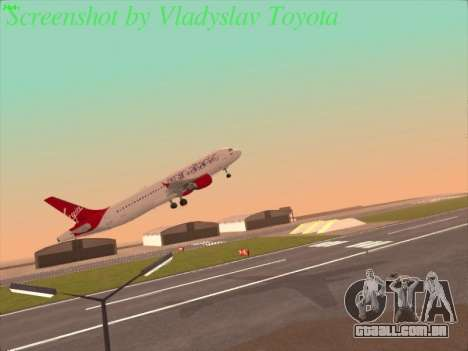 Airbus A320-211 Virgin Atlantic para GTA San Andreas vista direita